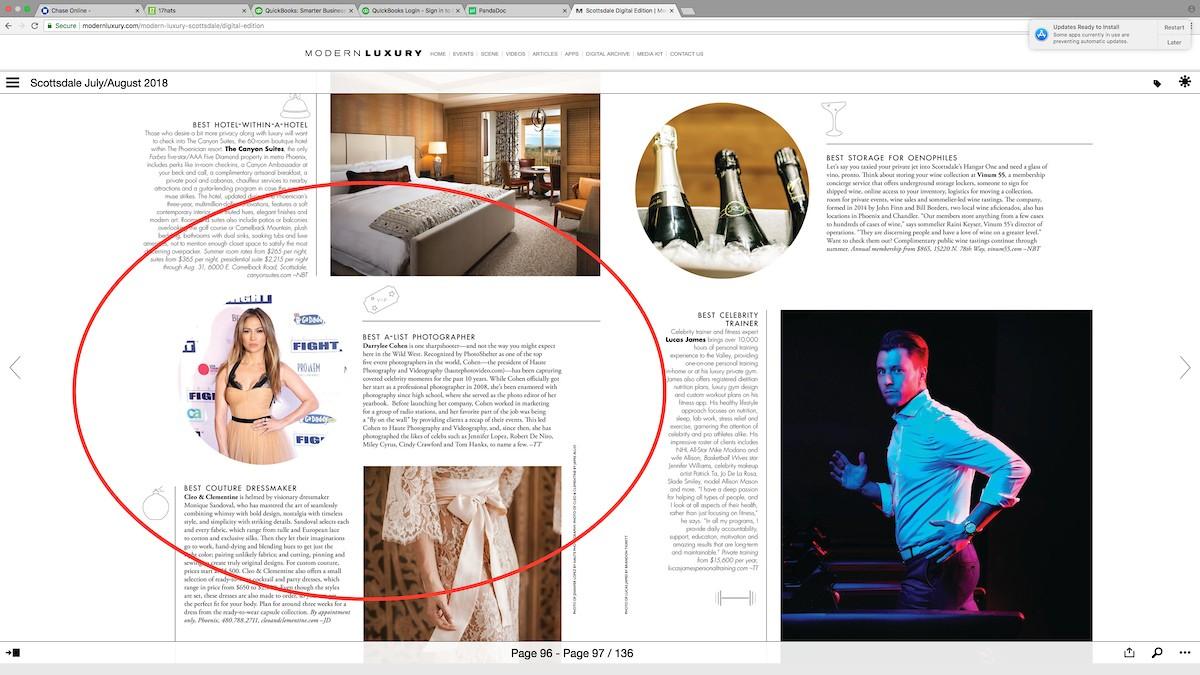 06.26.18 Modern Luxury Scottsdale Magazine - Best of the City - Best A-List Photographer